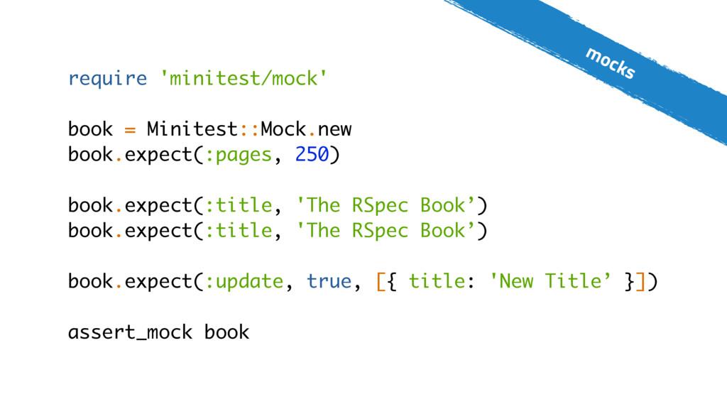 mocks require 'minitest/mock' book = Minitest::...