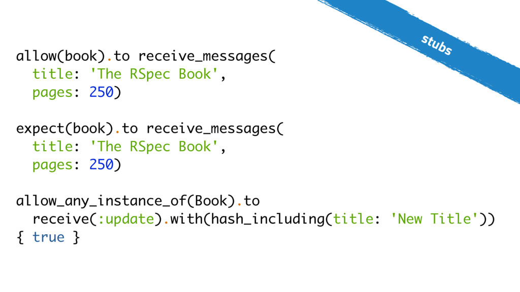 stubs allow(book).to receive_messages( title: '...