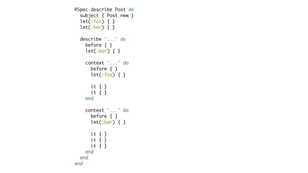 RSpec.describe Post do subject { Post.new } let...