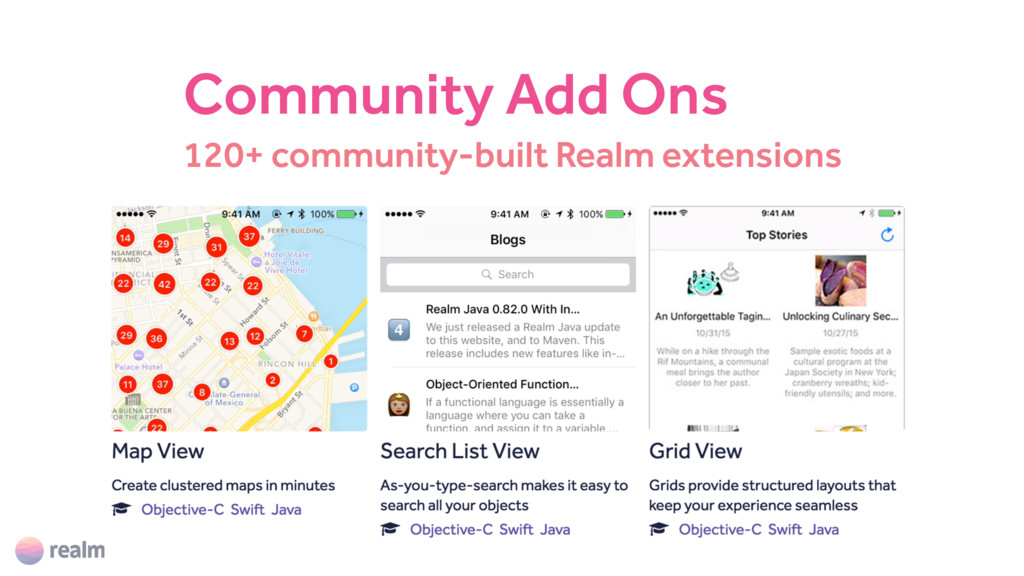 120+ community-built Realm extensions Community...