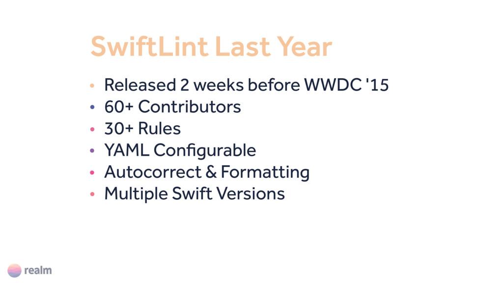 SwiftLint Last Year • Released 2 weeks before W...