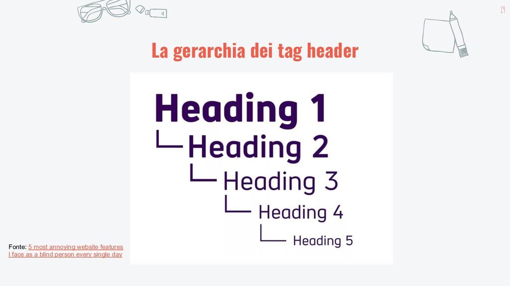 19 La gerarchia dei tag header Fonte: 5 most an...