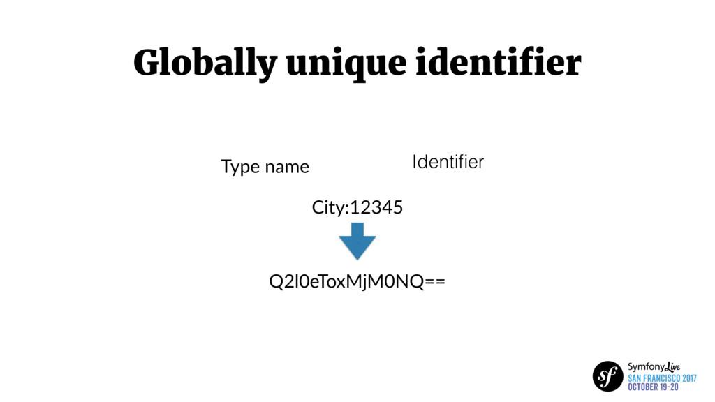 Globally unique identifier City:12345 Q2l0eToxMj...