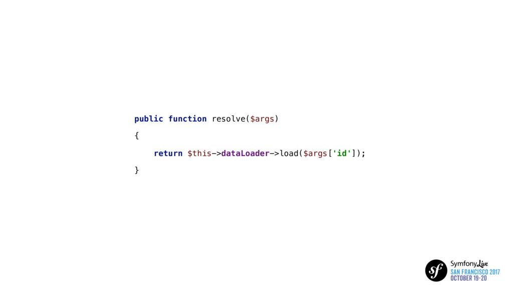 public function resolve($args) { return $this->...
