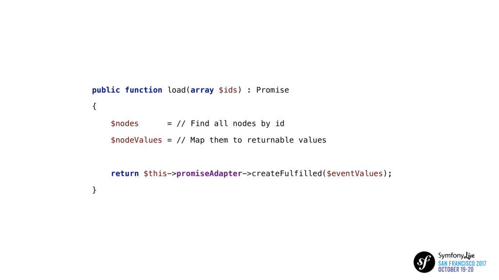 public function load(array $ids) : Promise { $n...