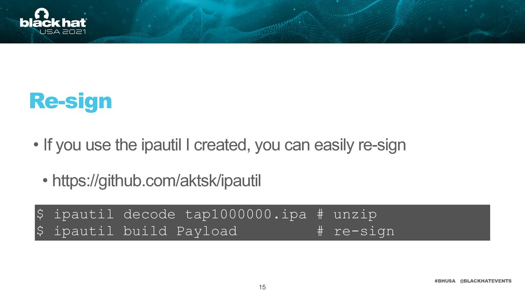 #BHUSA @BLACKHATEVENTS • If you use the ipautil...