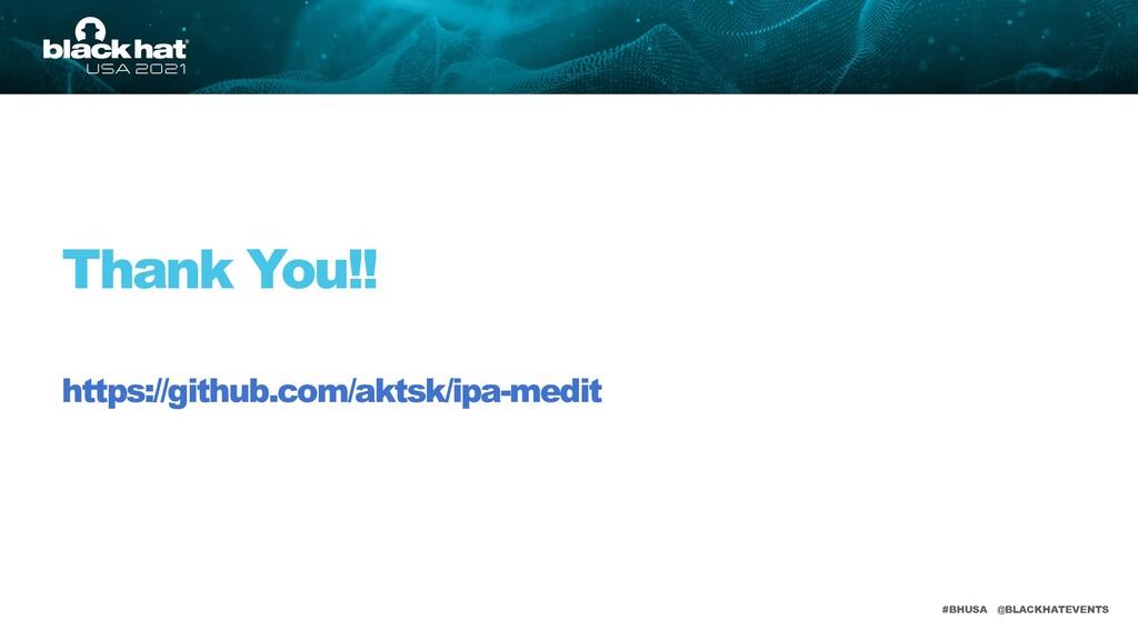 #BHUSA @BLACKHATEVENTS Thank You!! https://gith...