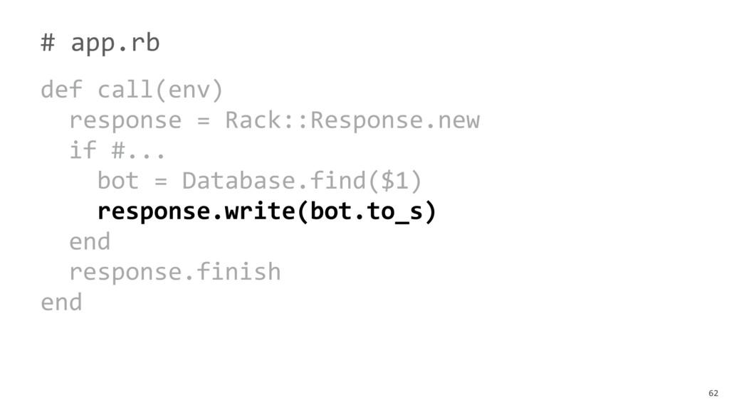 62 # app.rb def call(env) response = Rack::Resp...