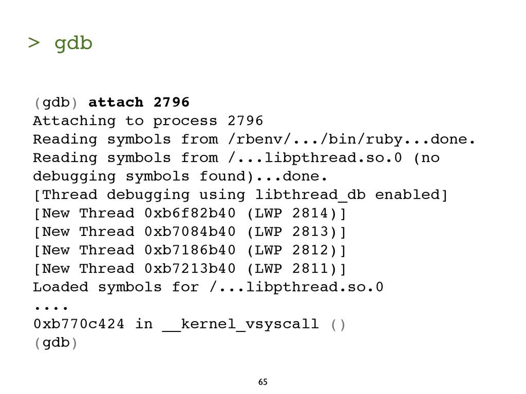 > gdb 65 (gdb) attach 2796 Attaching to process...
