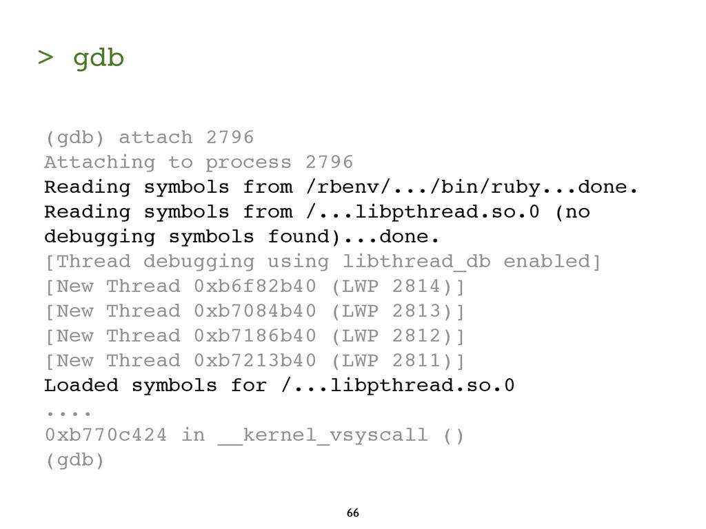 > gdb 66 (gdb) attach 2796 Attaching to process...