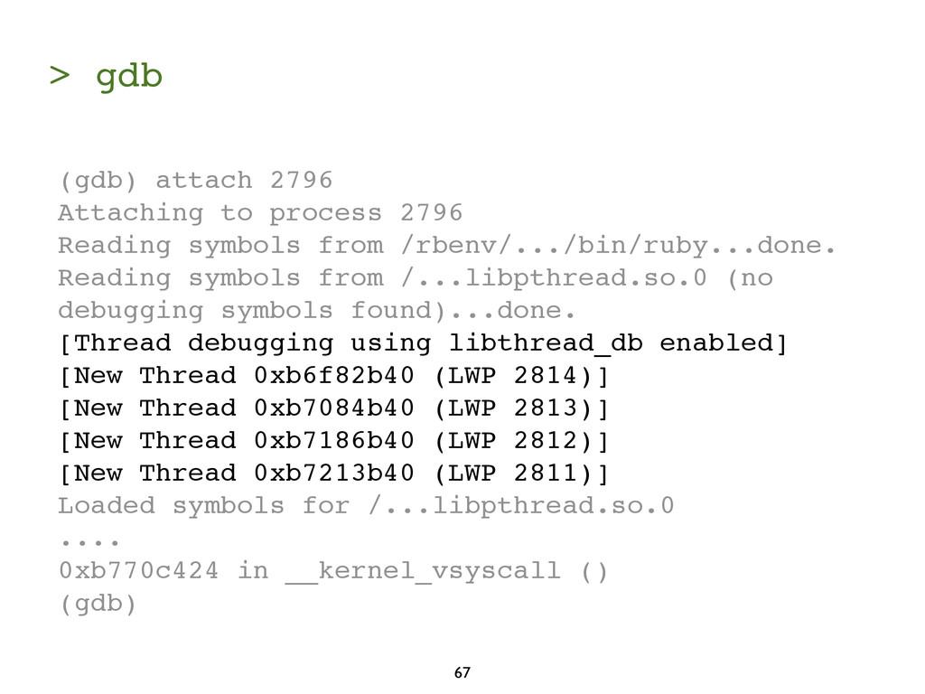 > gdb 67 (gdb) attach 2796 Attaching to process...