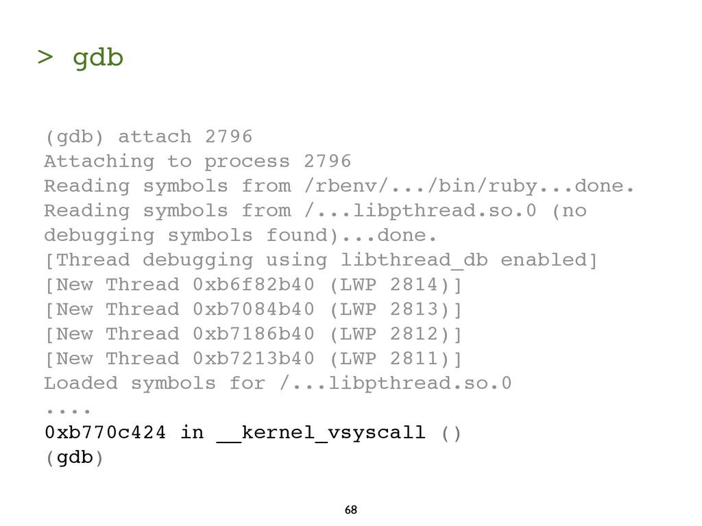 > gdb 68 (gdb) attach 2796 Attaching to process...