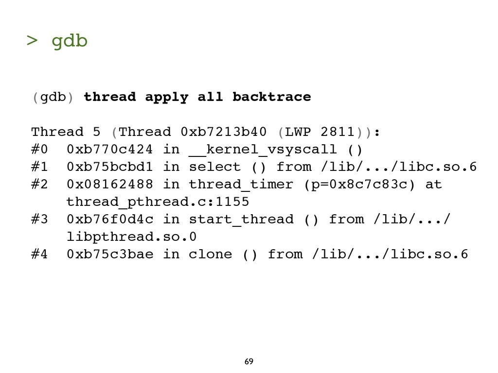 > gdb 69 (gdb) thread apply all backtrace Threa...