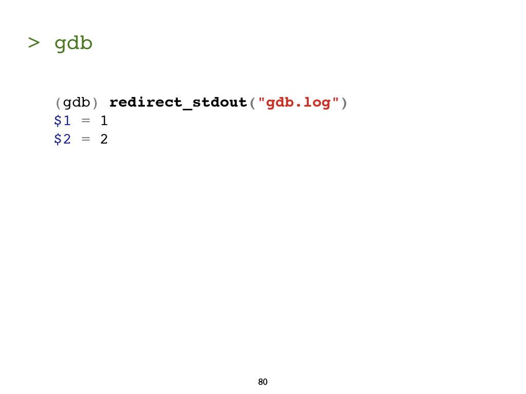 "> gdb 80 (gdb) redirect_stdout(""gdb.log"") $1 = ..."
