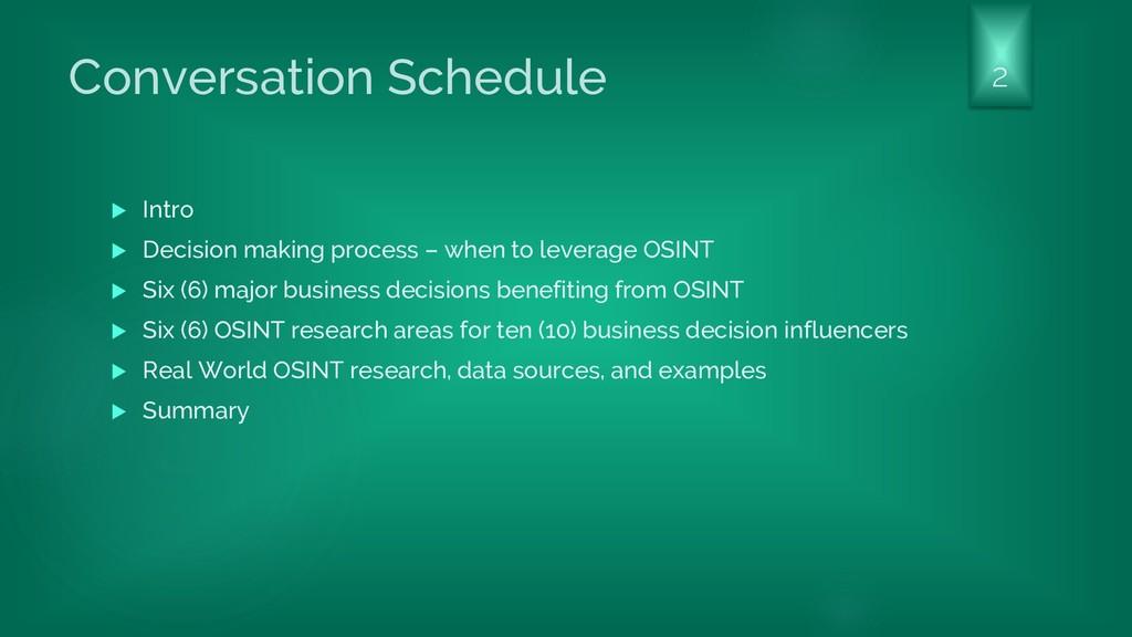 Conversation Schedule  Intro  Decision making...