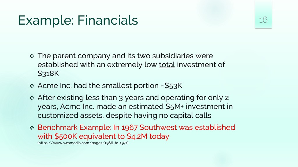 Example: Financials ❖ The parent company and it...