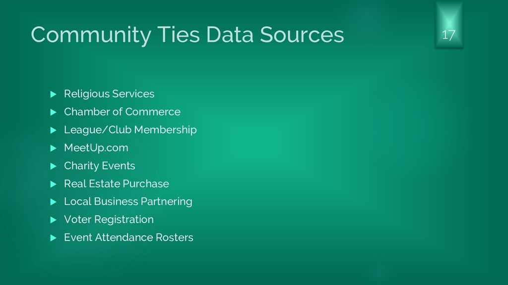 Community Ties Data Sources  Religious Service...