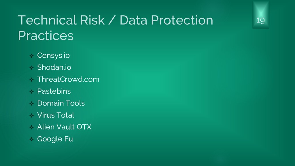 Technical Risk / Data Protection Practices ❖ Ce...