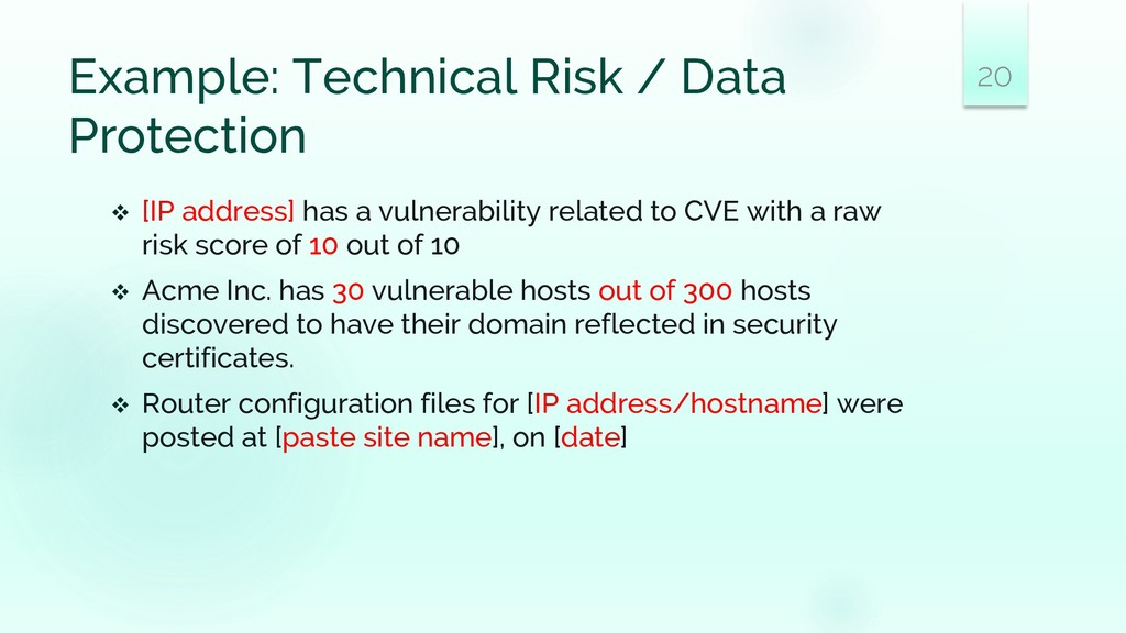 Example: Technical Risk / Data Protection ❖ [IP...