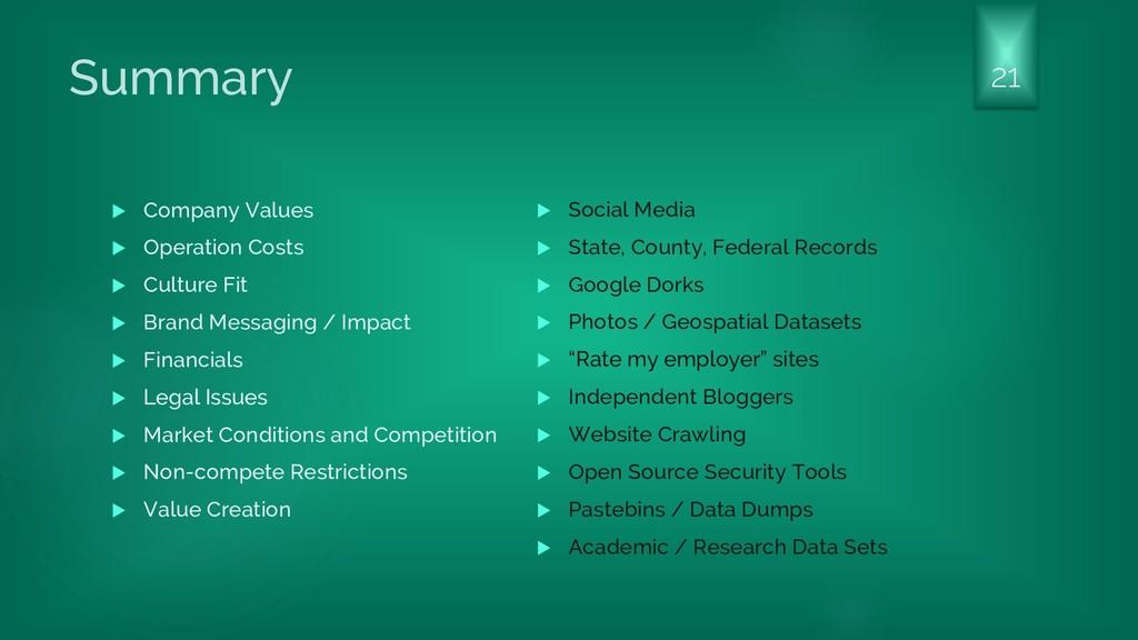 Summary  Company Values  Operation Costs  Cu...