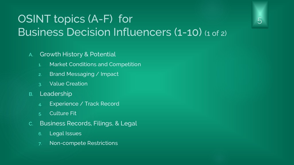 OSINT topics (A-F) for Business Decision Influe...