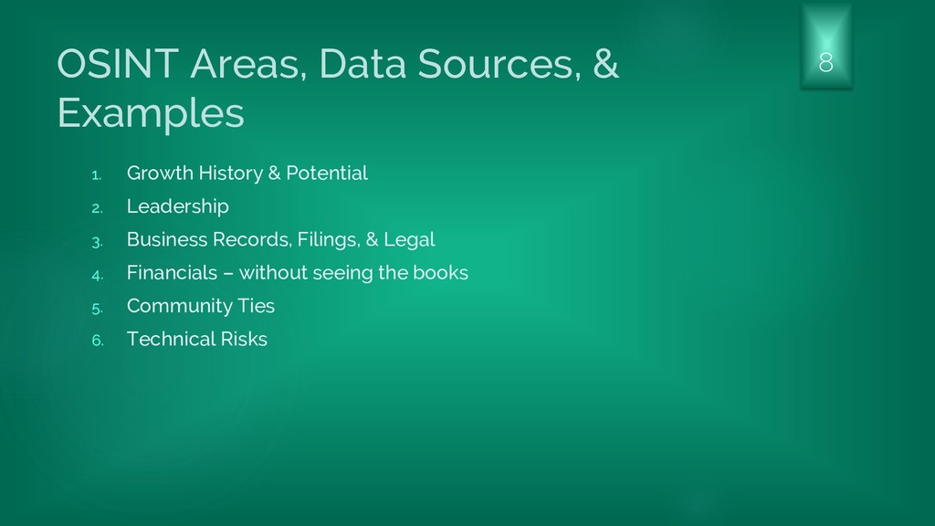OSINT Areas, Data Sources, & Examples 1. Growth...
