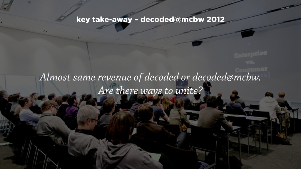 Almost same revenue of decoded or decoded@mcbw....