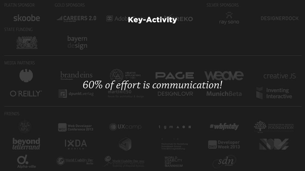 60% of effort is communication! Key-Activity