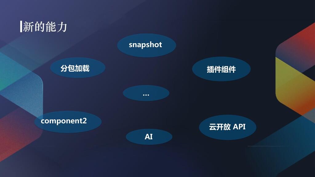 分包加载 snapshot 插件组件 component2 AI 云开放 API …