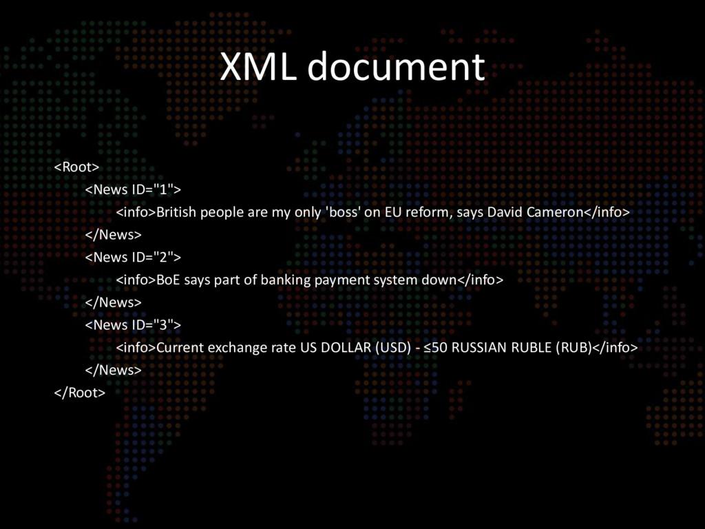 """XML document <Root> <News ID=""""1""""> <info>British..."""