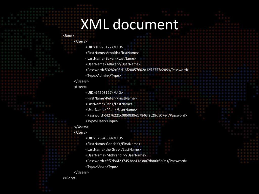 XML document <Root> <Users> <UID>18923172</UID>...