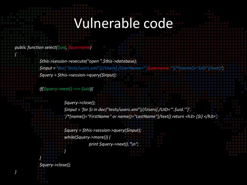 Vulnerable code public function select($uid, $u...