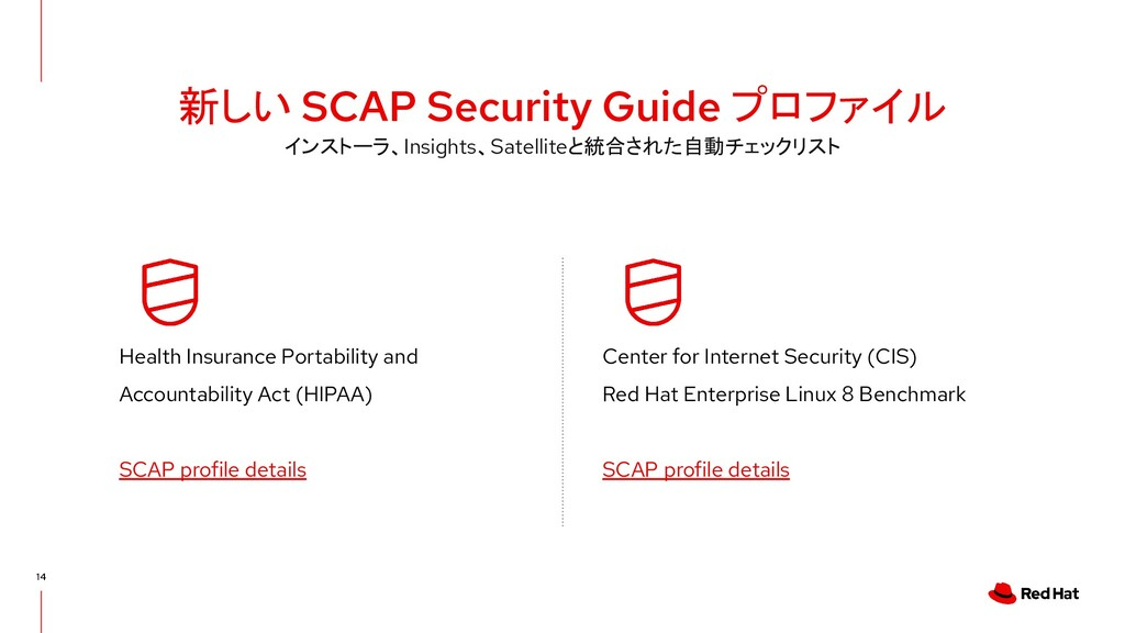 新しい SCAP Security Guide プロファイル 14 Health Insura...