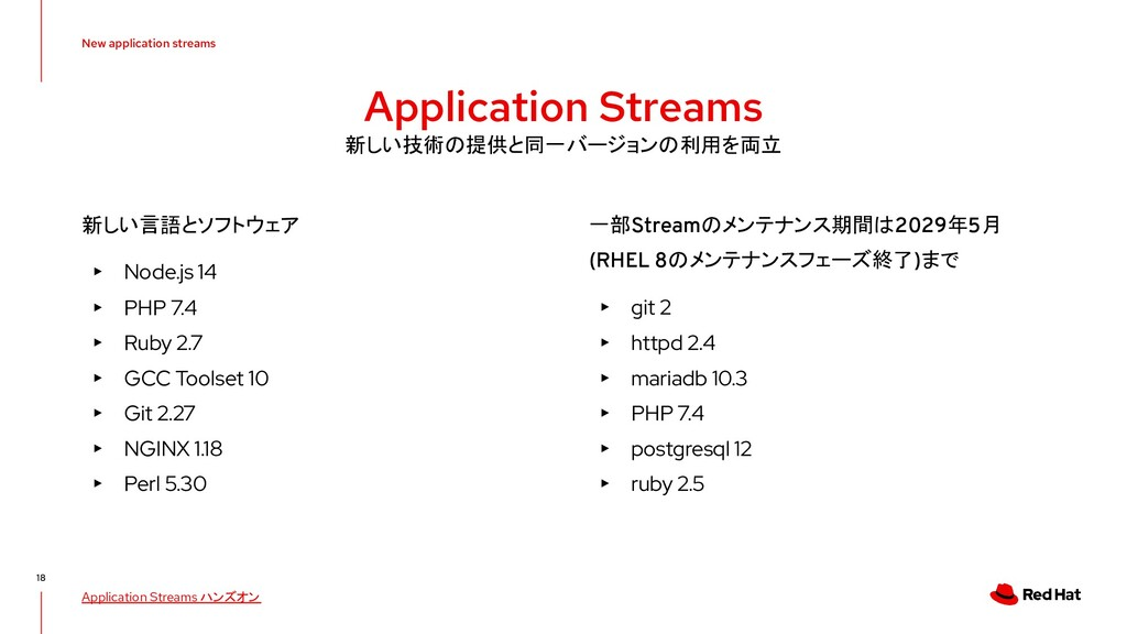 New application streams 18 Application Streams ...