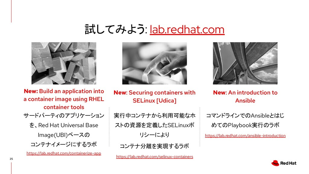 試してみよう: lab.redhat.com 25 実行中コンテナから利用可能なホ ストの資源...