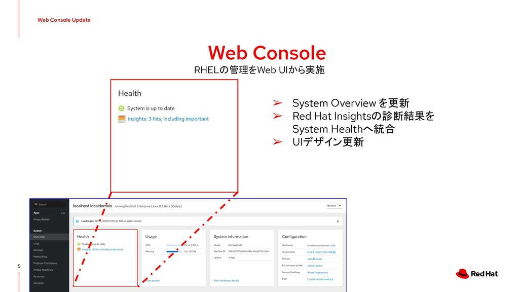 Web Console Update 5 Web Console ➢ System Overv...