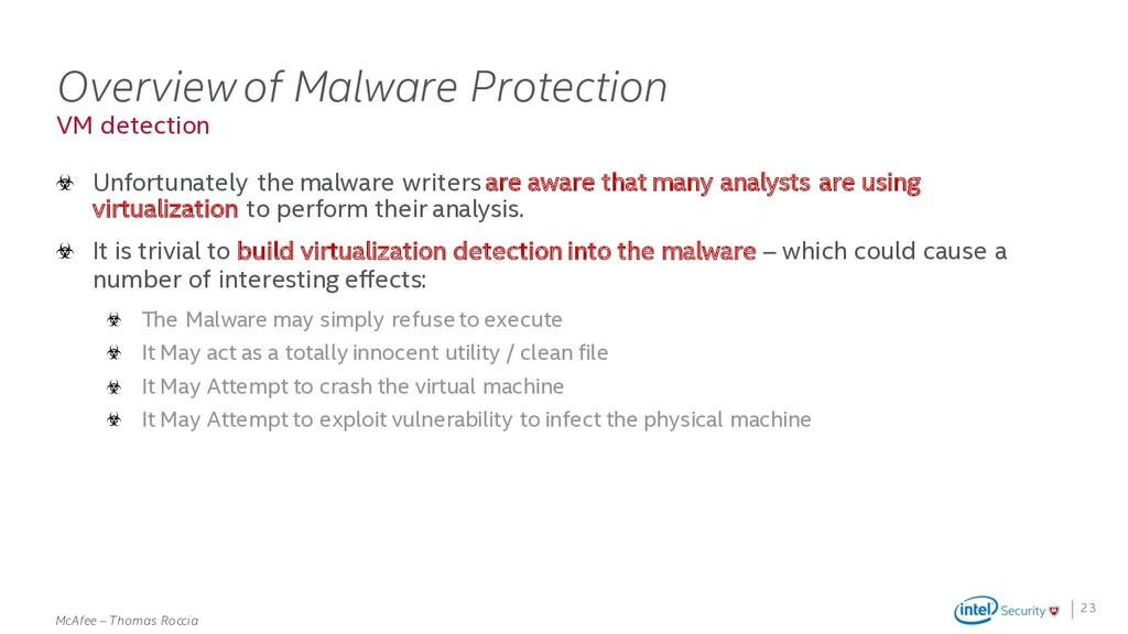 . McAfee – Thomas Roccia VM detection Overview ...