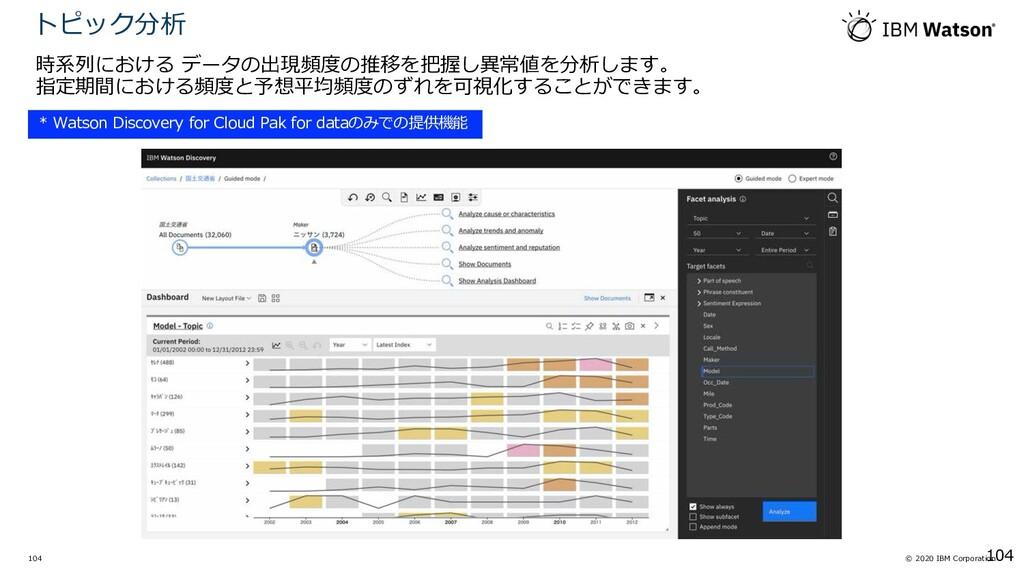© 2020 IBM Corporation 104 時系列における データの出現頻度の推移を...
