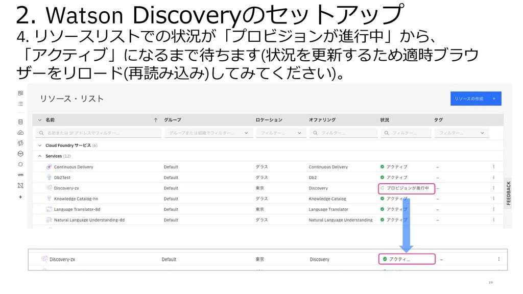 39 2. Watson Discoveryのセットアップ 4. リソースリストでの状況が「プ...