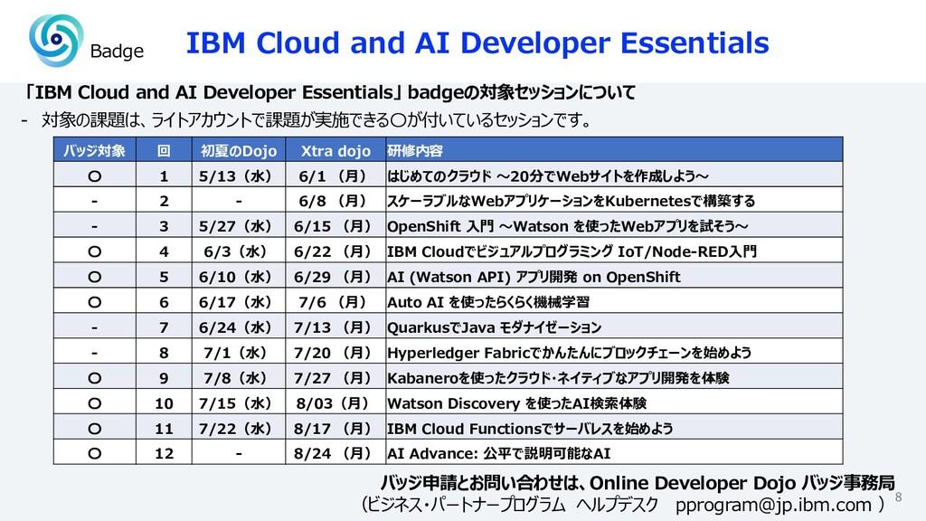 IBM Cloud and AI Developer Essentials 8 「IBM Cl...