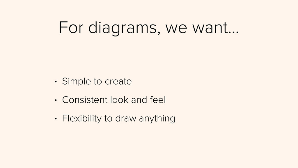 For diagrams, we want… • Simple to create • Con...