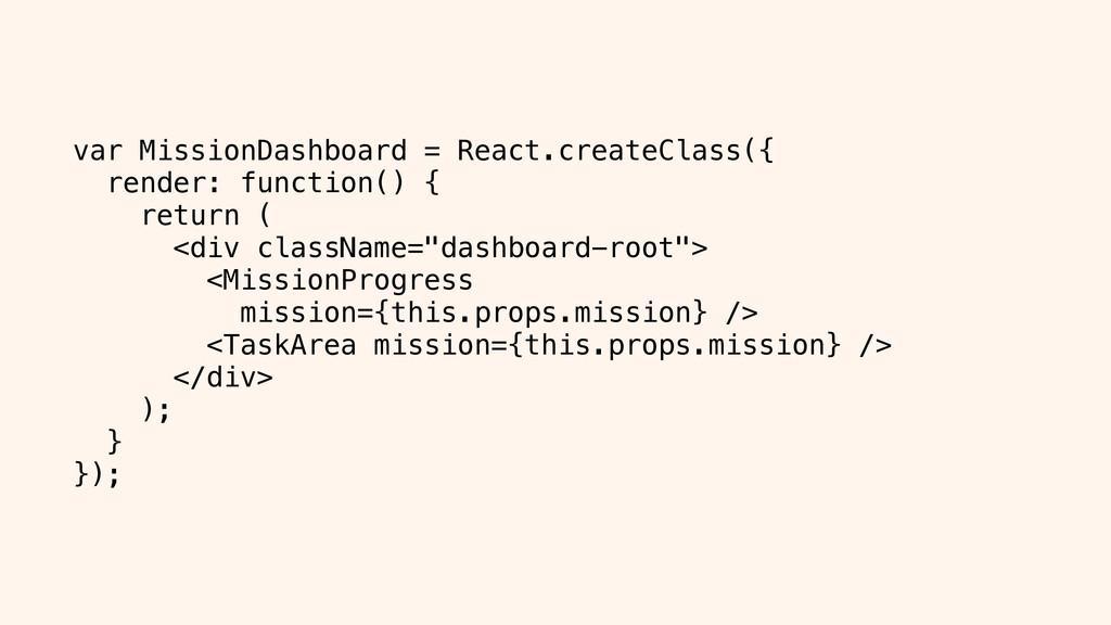 var MissionDashboard = React.createClass({ rend...