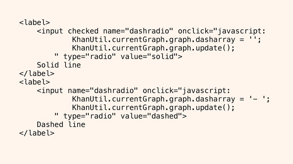 "<label> <input checked name=""dashradio"" onclick..."