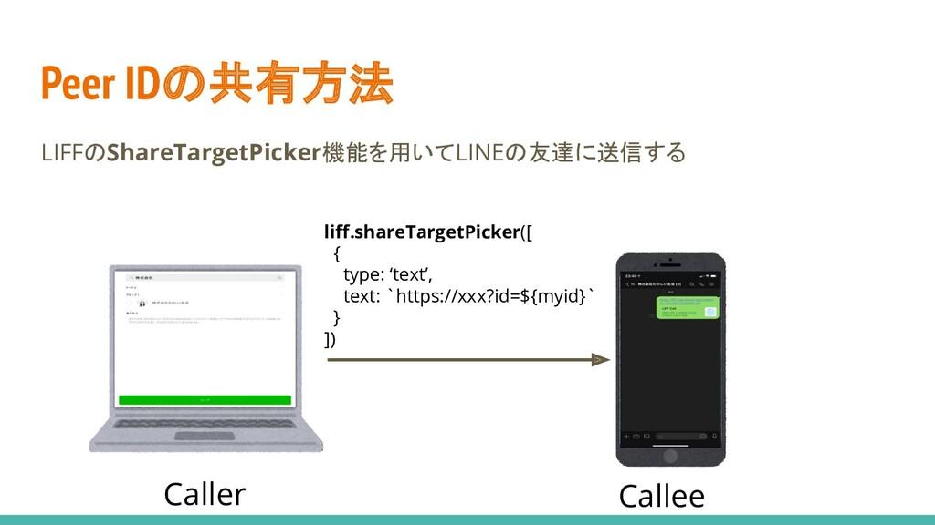 Peer IDの共有方法 LIFFのShareTargetPicker機能を用いてLINEの友...