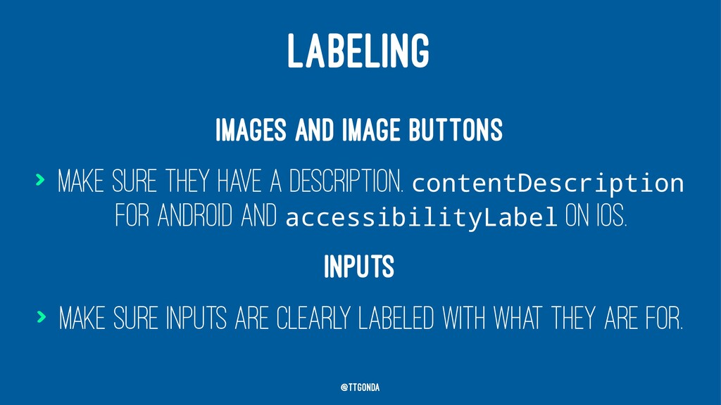 LABELING Images and image buttons > Make sure t...