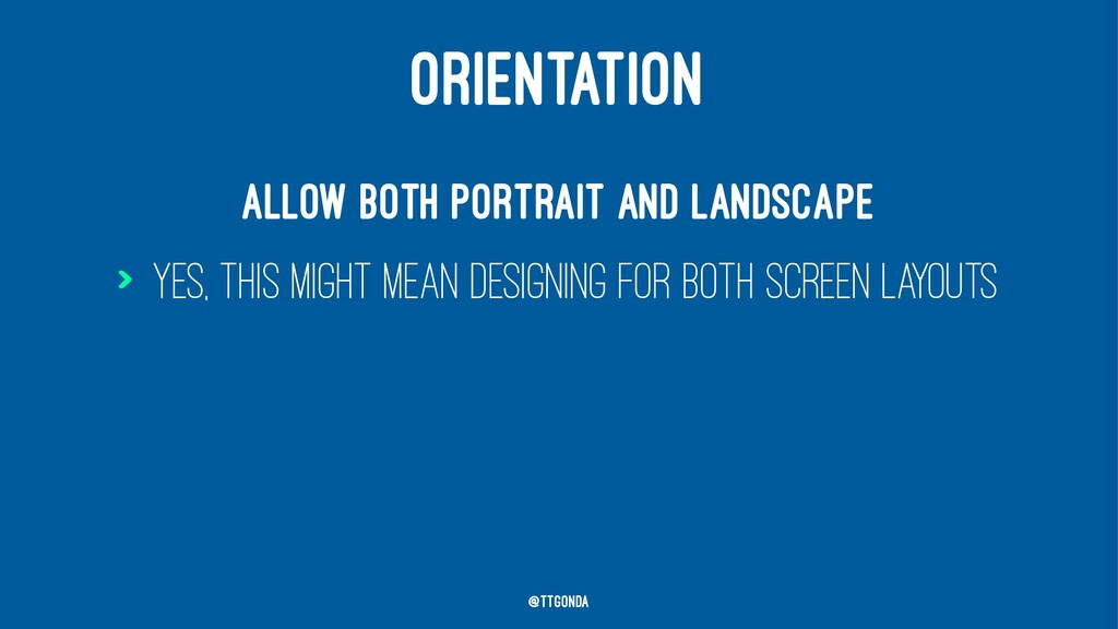 ORIENTATION Allow both portrait and landscape >...