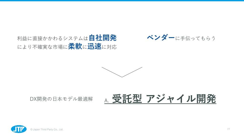© Japan Third Party Co., Ltd. 19 利益に直接かかわるシステムは...