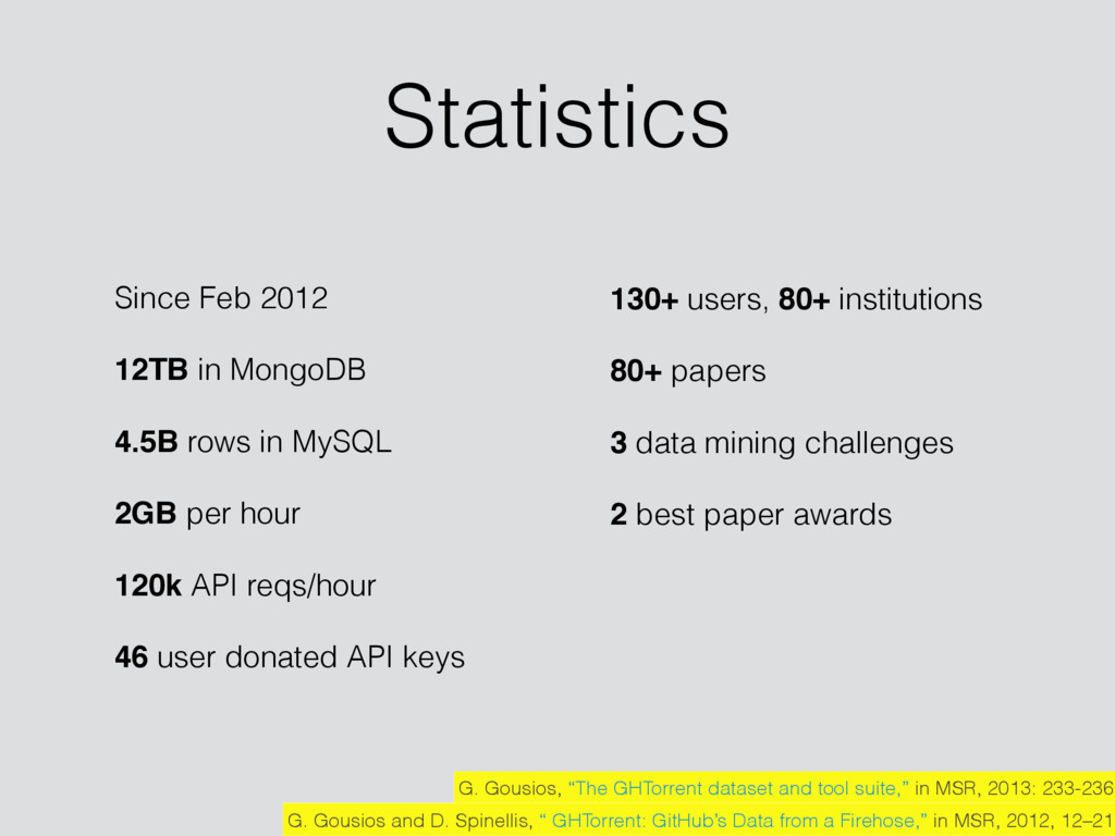 Statistics Since Feb 2012 12TB in MongoDB 4.5B ...