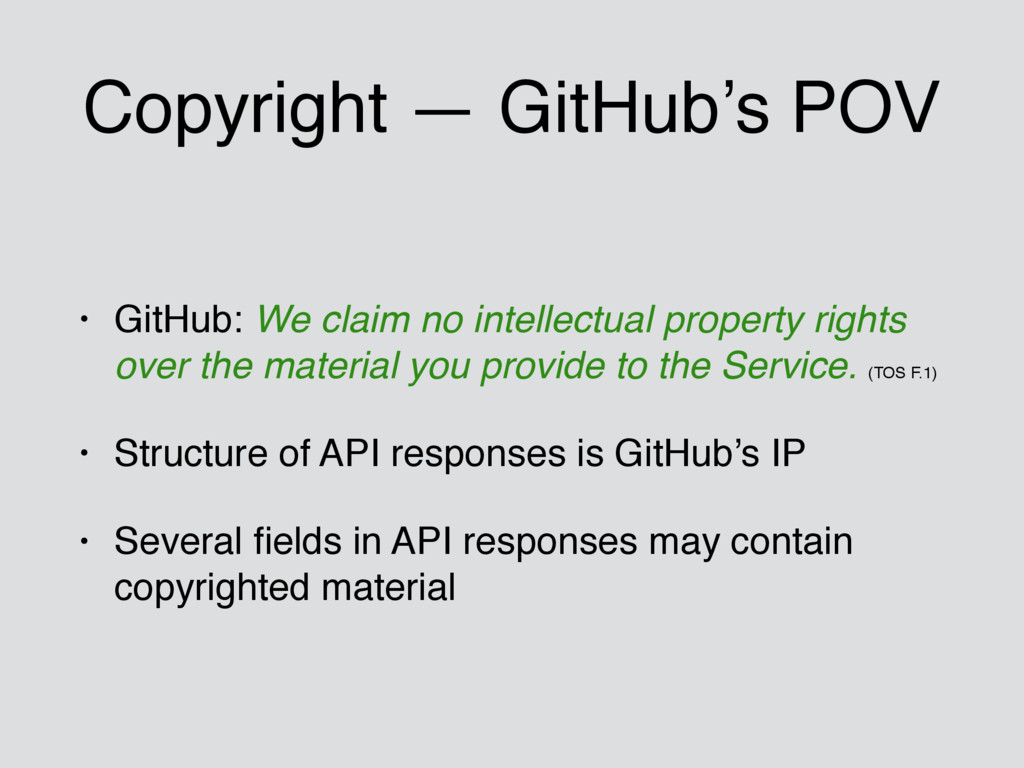 Copyright — GitHub's POV • GitHub: We claim no ...