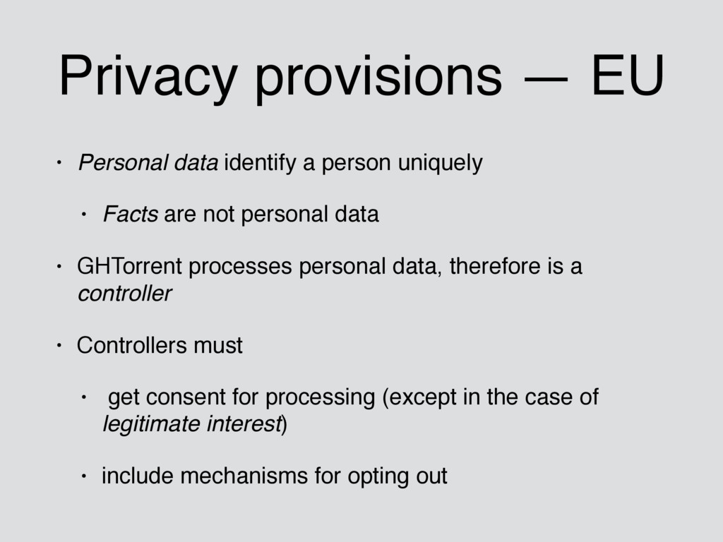 Privacy provisions — EU • Personal data identif...